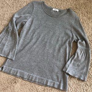 Silver Flutter Sleeve Shirt